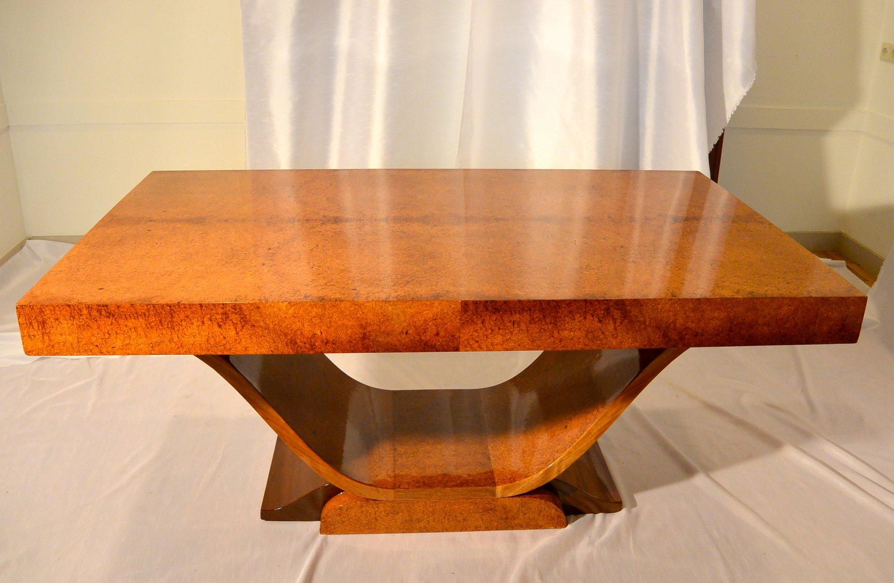 franz sischer art deco ambonya furnier tisch 1920er bei. Black Bedroom Furniture Sets. Home Design Ideas