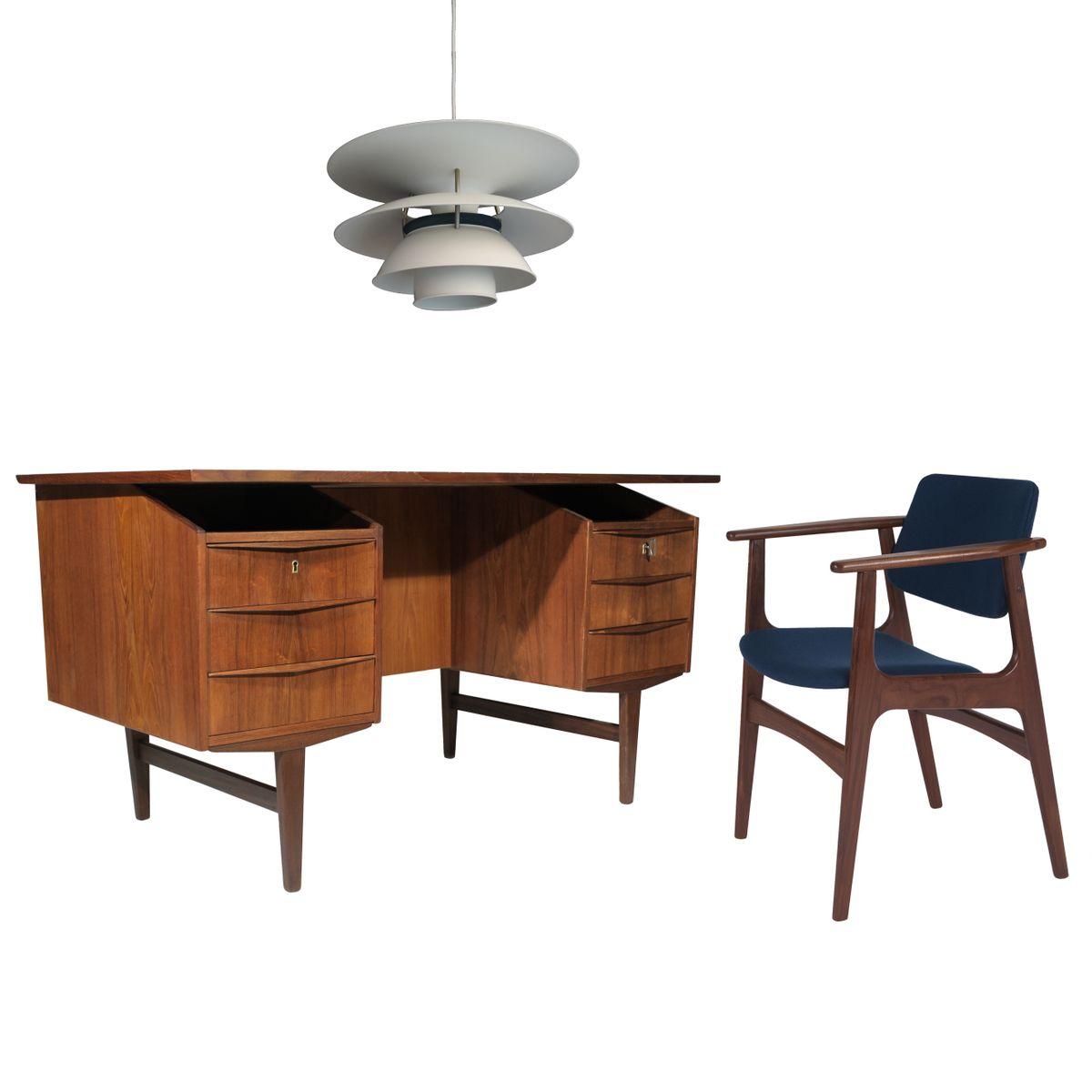 d nischer teak schreibtisch mit schubladen ablagen 1960 bei pamono kaufen. Black Bedroom Furniture Sets. Home Design Ideas