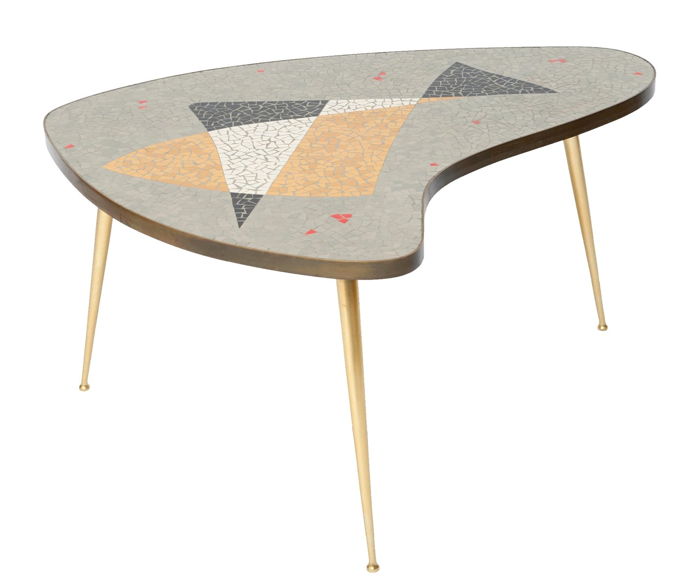 Organic Brass Coffee Table With Mosaic 1955 For Sale At Pamono