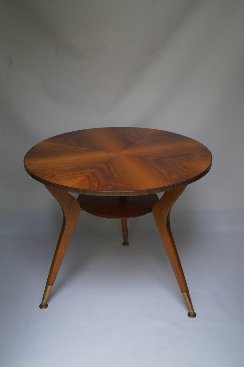 Italian brass wood veneer coffee table 1950s for sale for Italian coffee table