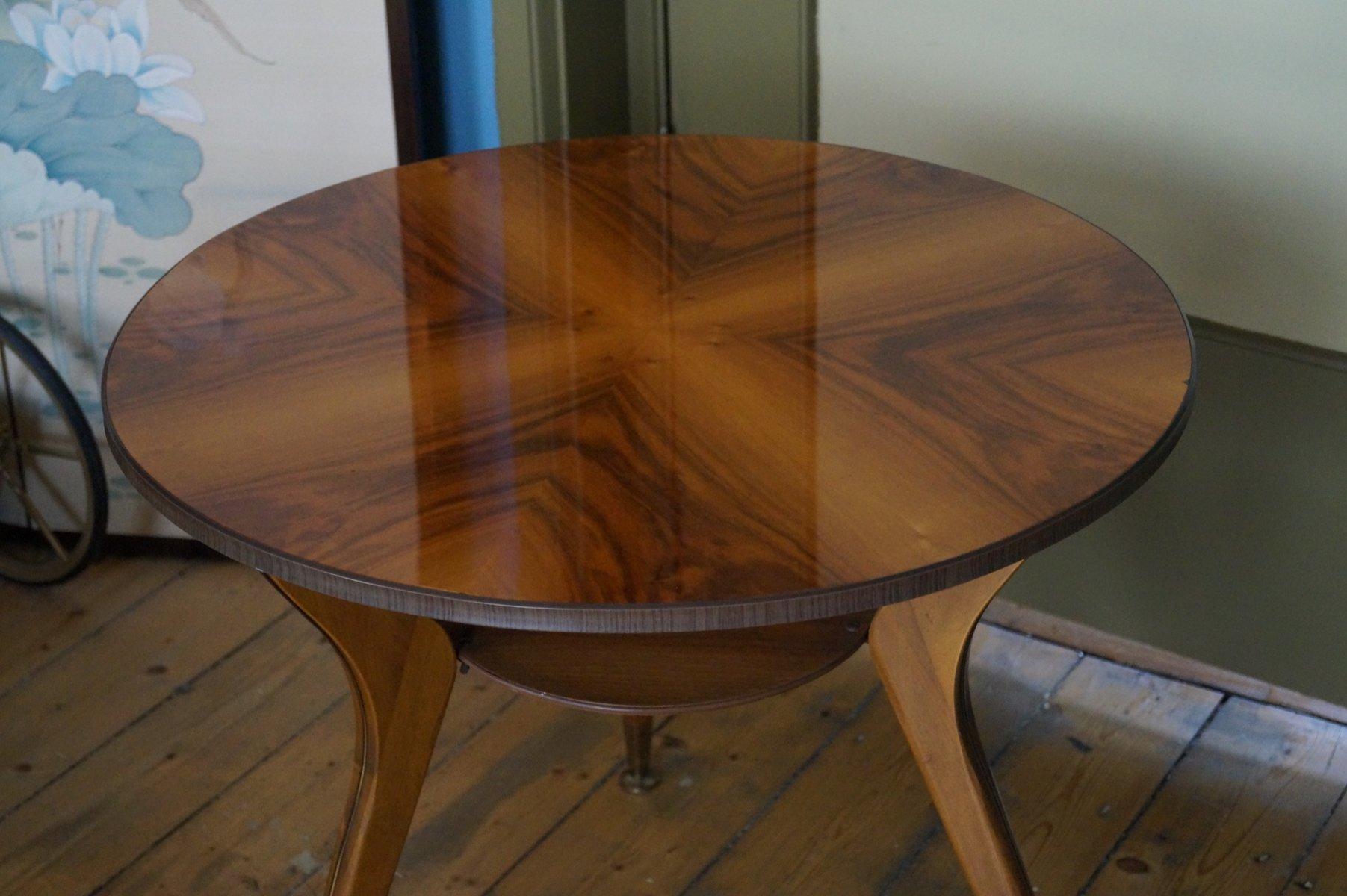 Italian Brass & Wood Veneer Coffee Table 1950s for sale at Pamono