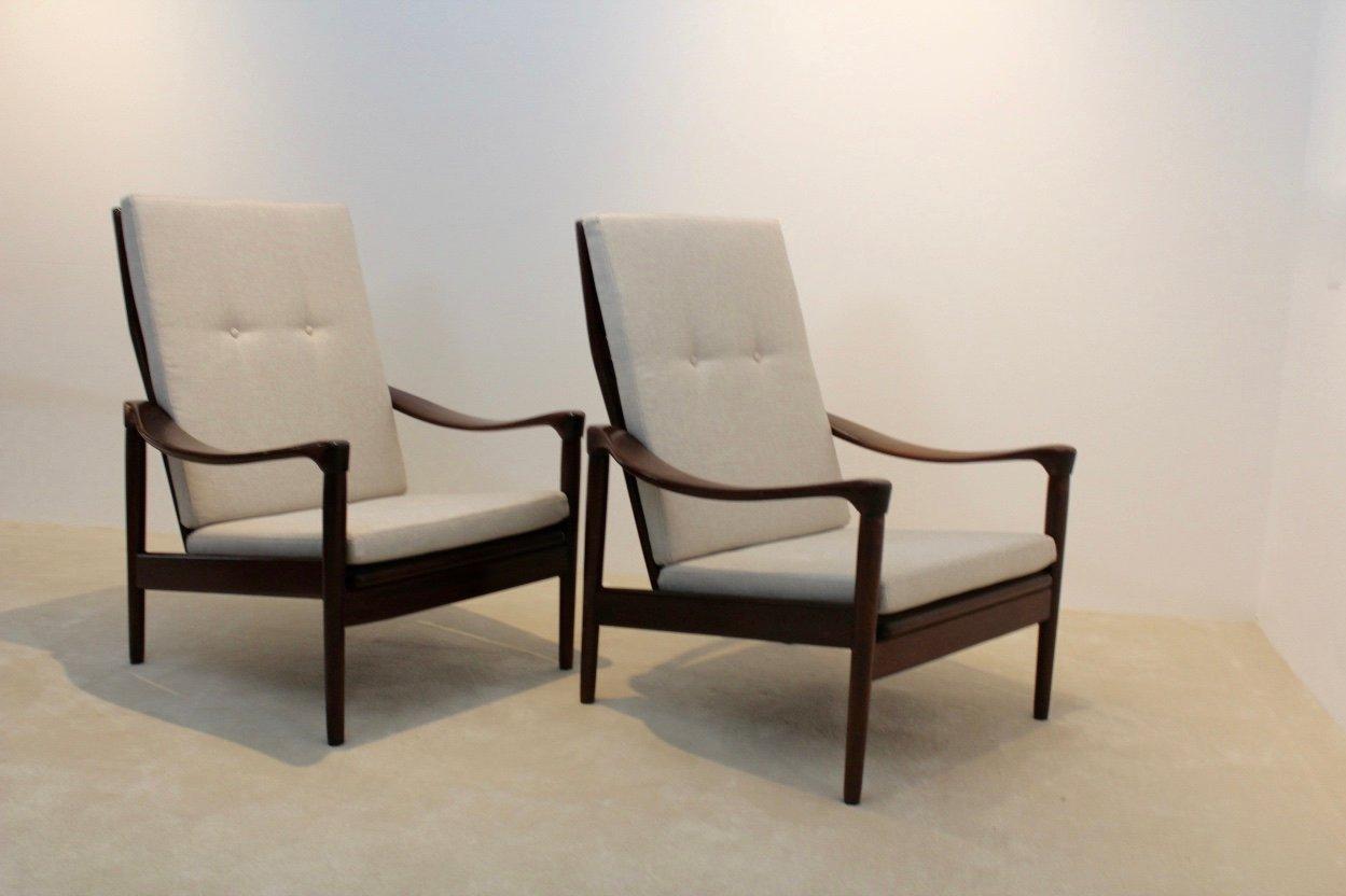 mid century teakholz sessel mit hoher r ckenlehne von de ster gelderland bei pamono kaufen. Black Bedroom Furniture Sets. Home Design Ideas