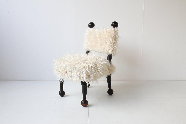 italienischer stuhl mit kunstfell 1950 bei pamono kaufen. Black Bedroom Furniture Sets. Home Design Ideas