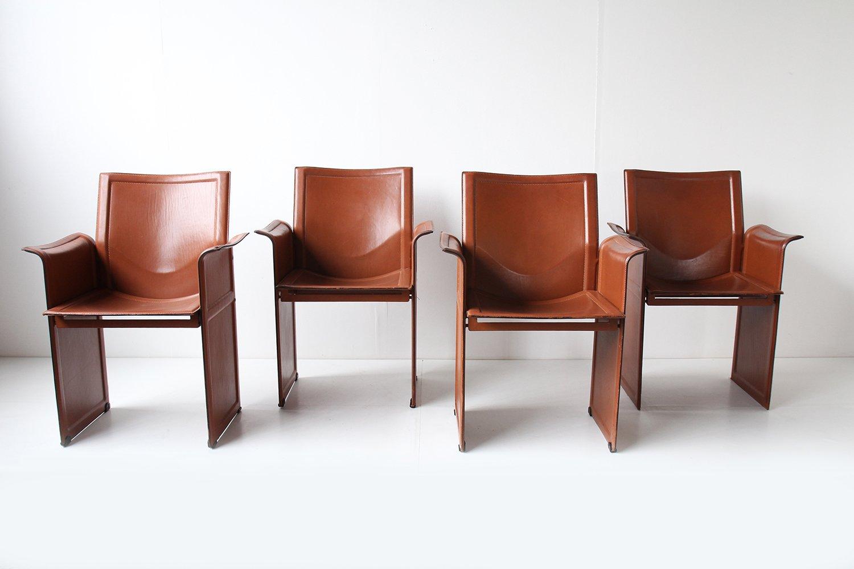 braune armlehnst hle aus leder von tito agnoli f r matteo. Black Bedroom Furniture Sets. Home Design Ideas
