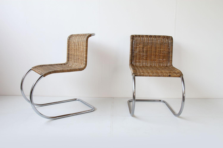 mr10 rattan freischwinger von mies van der rohe f r knoll 1970 2er set bei pamono kaufen. Black Bedroom Furniture Sets. Home Design Ideas