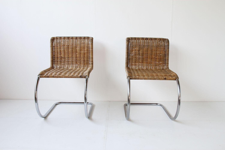 mr10 rattan freischwinger von mies van der rohe f r knoll. Black Bedroom Furniture Sets. Home Design Ideas