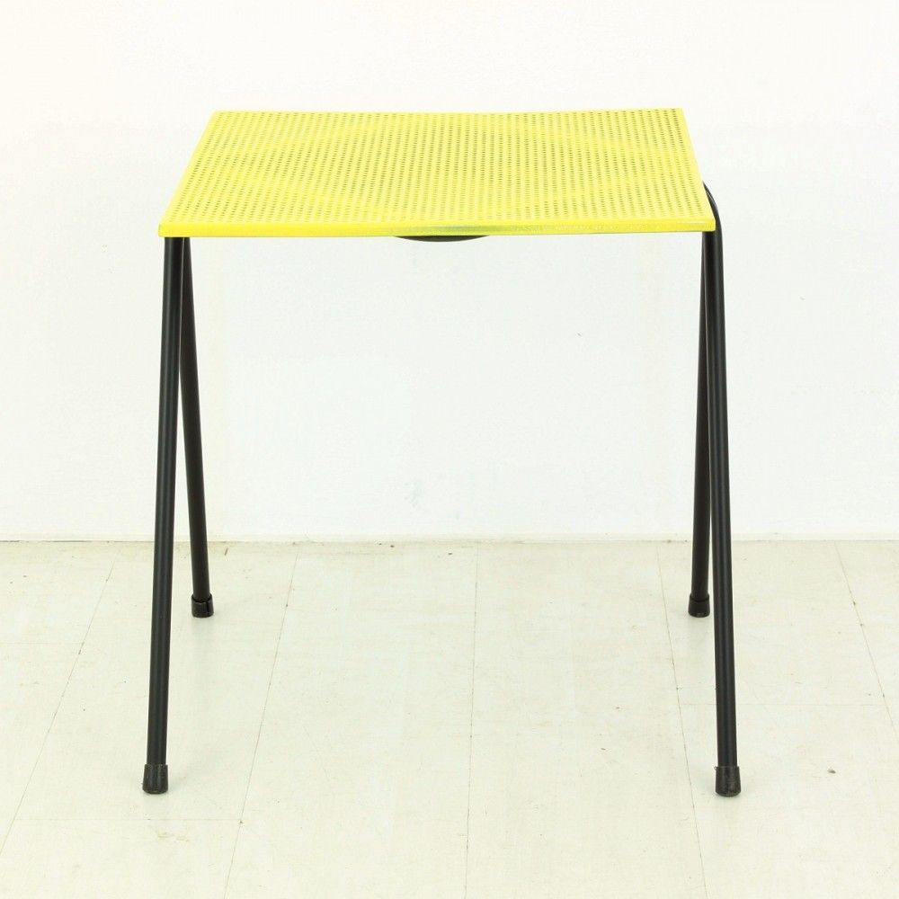 Small Yellow Perforated Metal Coffee Table 1950s For Sale At Pamono