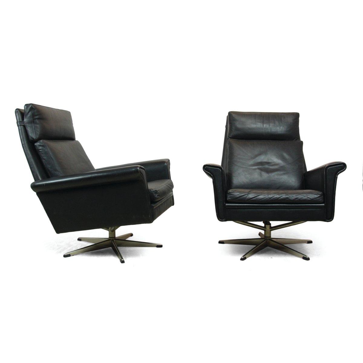 d nische schwarze leder drehsessel 1960er 2er set bei. Black Bedroom Furniture Sets. Home Design Ideas