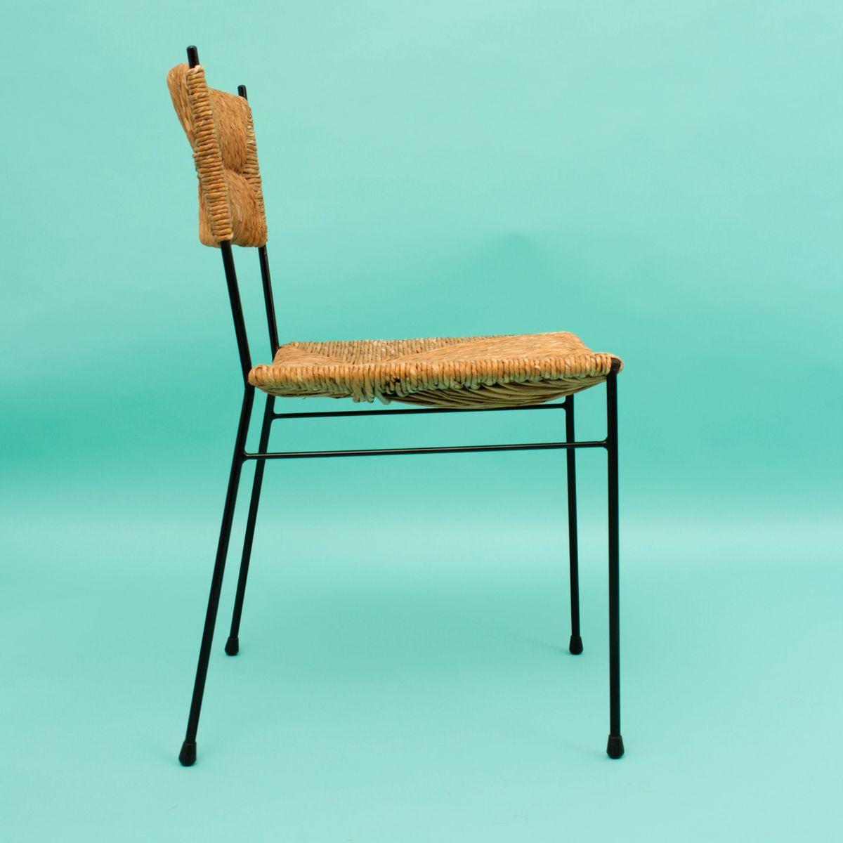 mid century stuhl mit geflochtenem sitz 1960er bei pamono kaufen. Black Bedroom Furniture Sets. Home Design Ideas