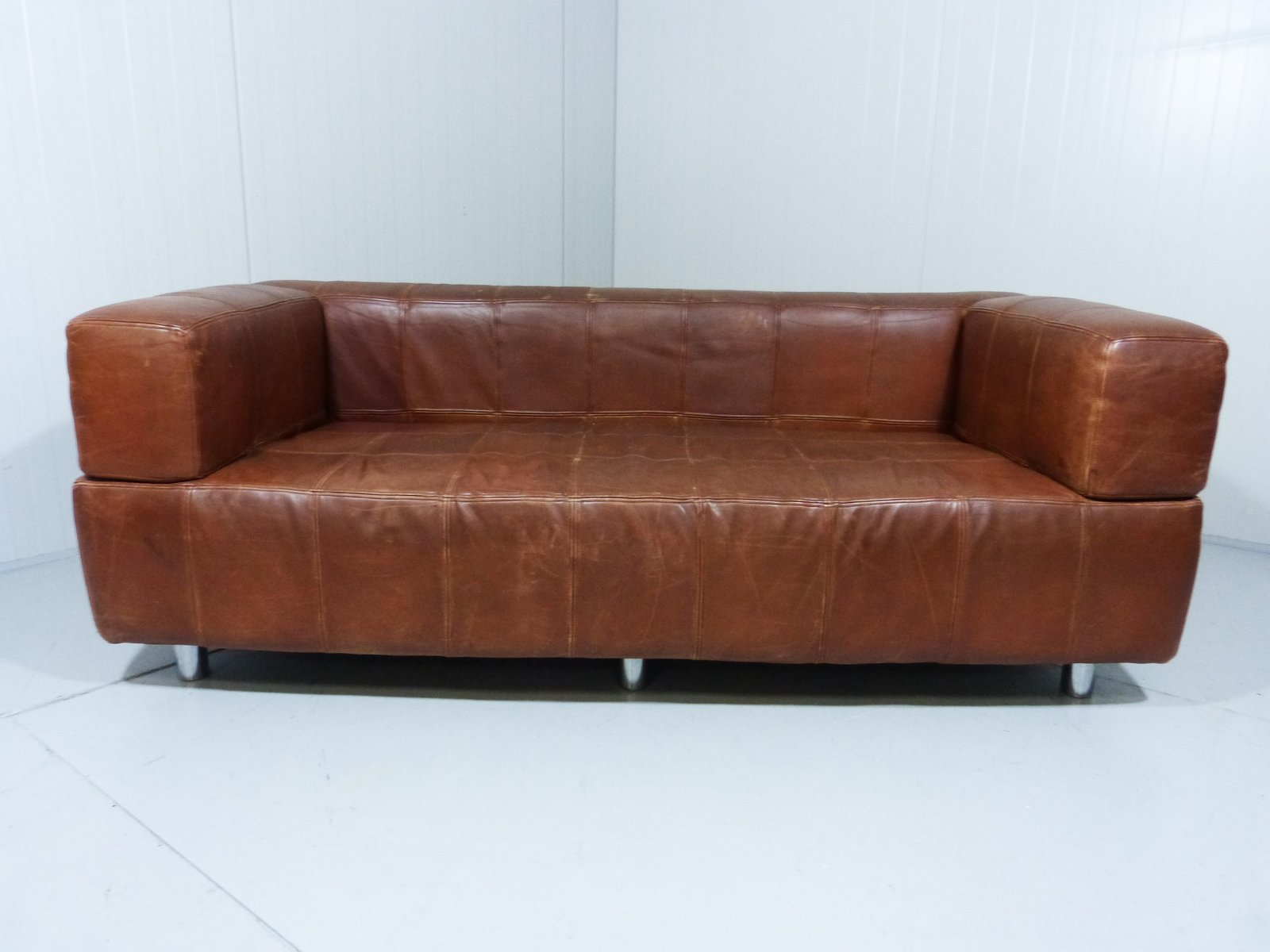 vintage leather patchwork sofa for sale at pamono. Black Bedroom Furniture Sets. Home Design Ideas