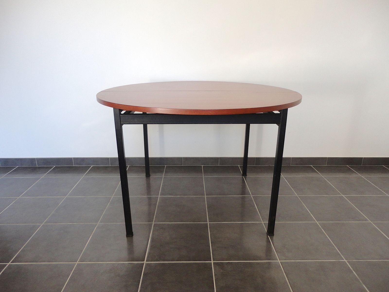 french round dining table by claude vassal for alveole