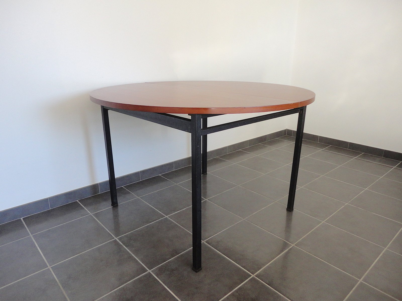 French Round Dining Table by Claude Vassal for Alveole 1950s for
