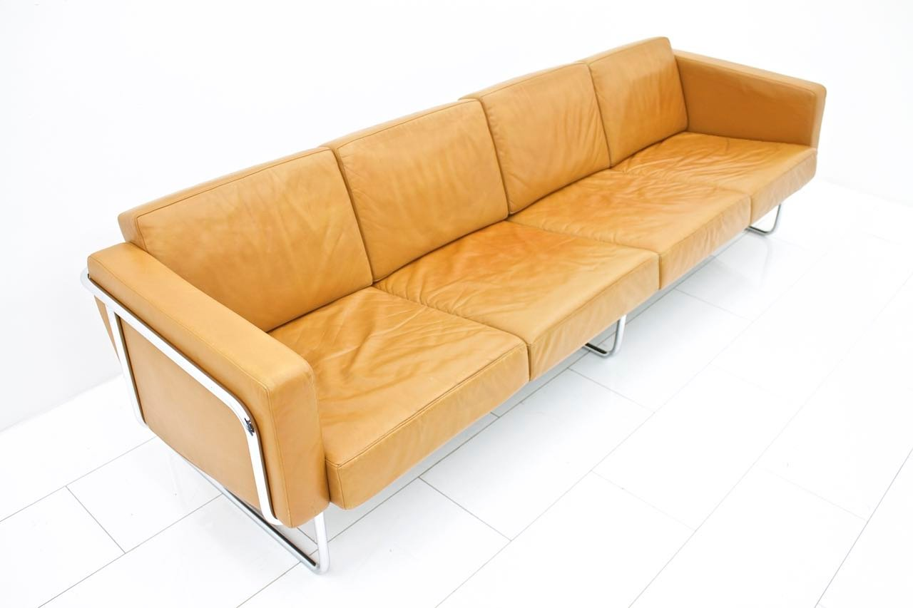 Swiss four seater leather sofa by hans eichenberger for for Sofa 7 seater