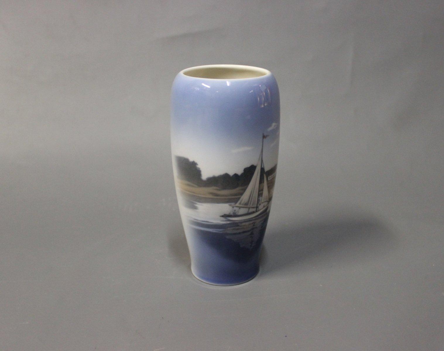 Danish Harbor Motif Vase From Royal Copenhagen 1980s For
