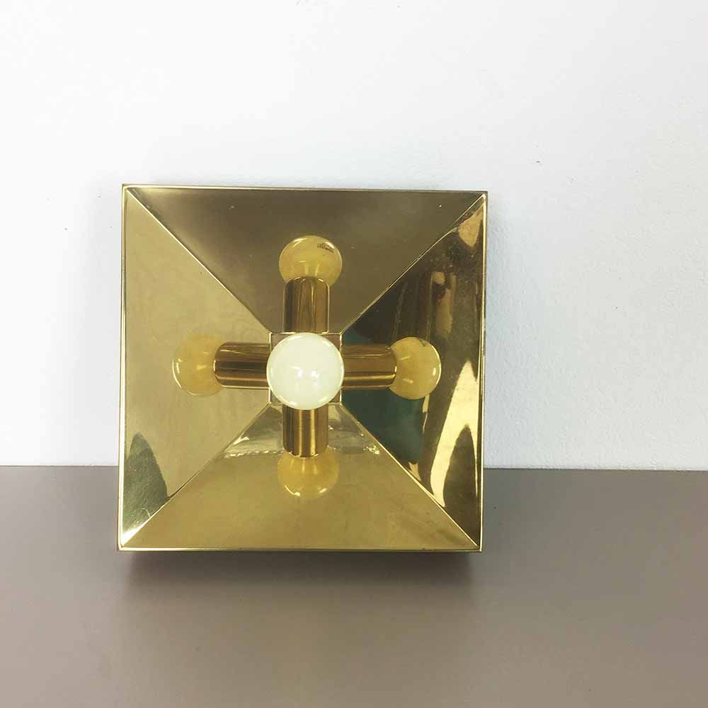 German Modernist Brass Cubic Wall Lights, 1970s, Set of 5 for sale at Pamono