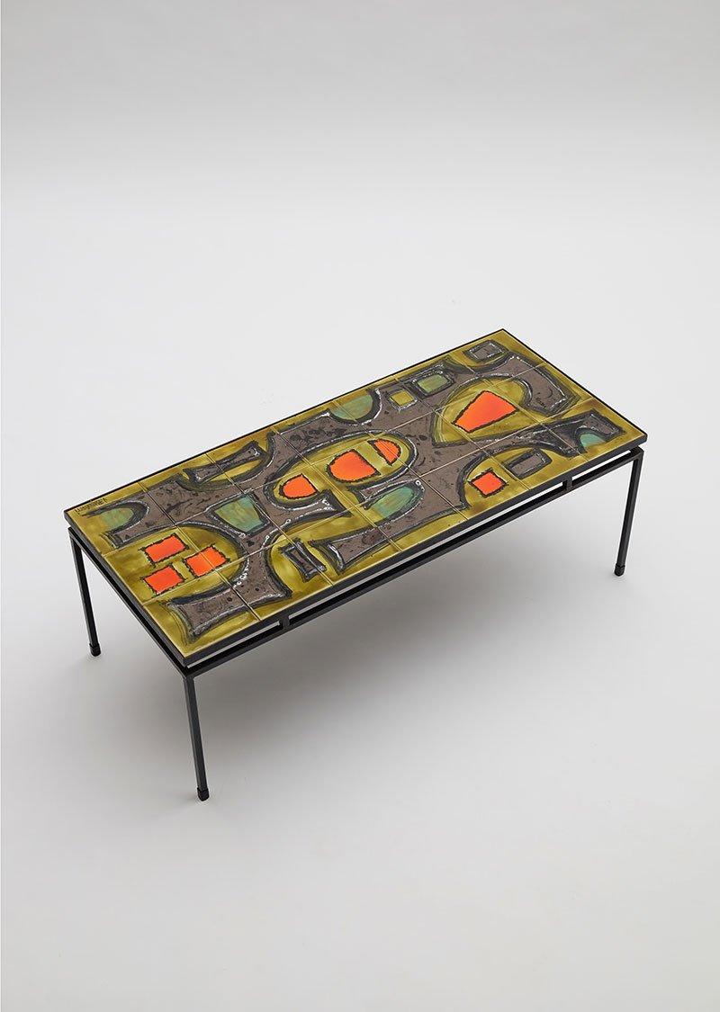 Table basse en c ramique peinte la main par juliette - Table basse peinte ...