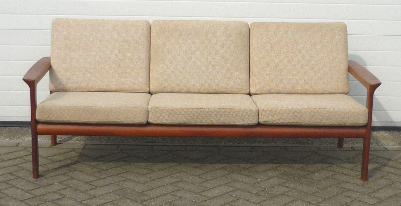 danish teak borneo three seater sofa by sven ellekaer for. Black Bedroom Furniture Sets. Home Design Ideas