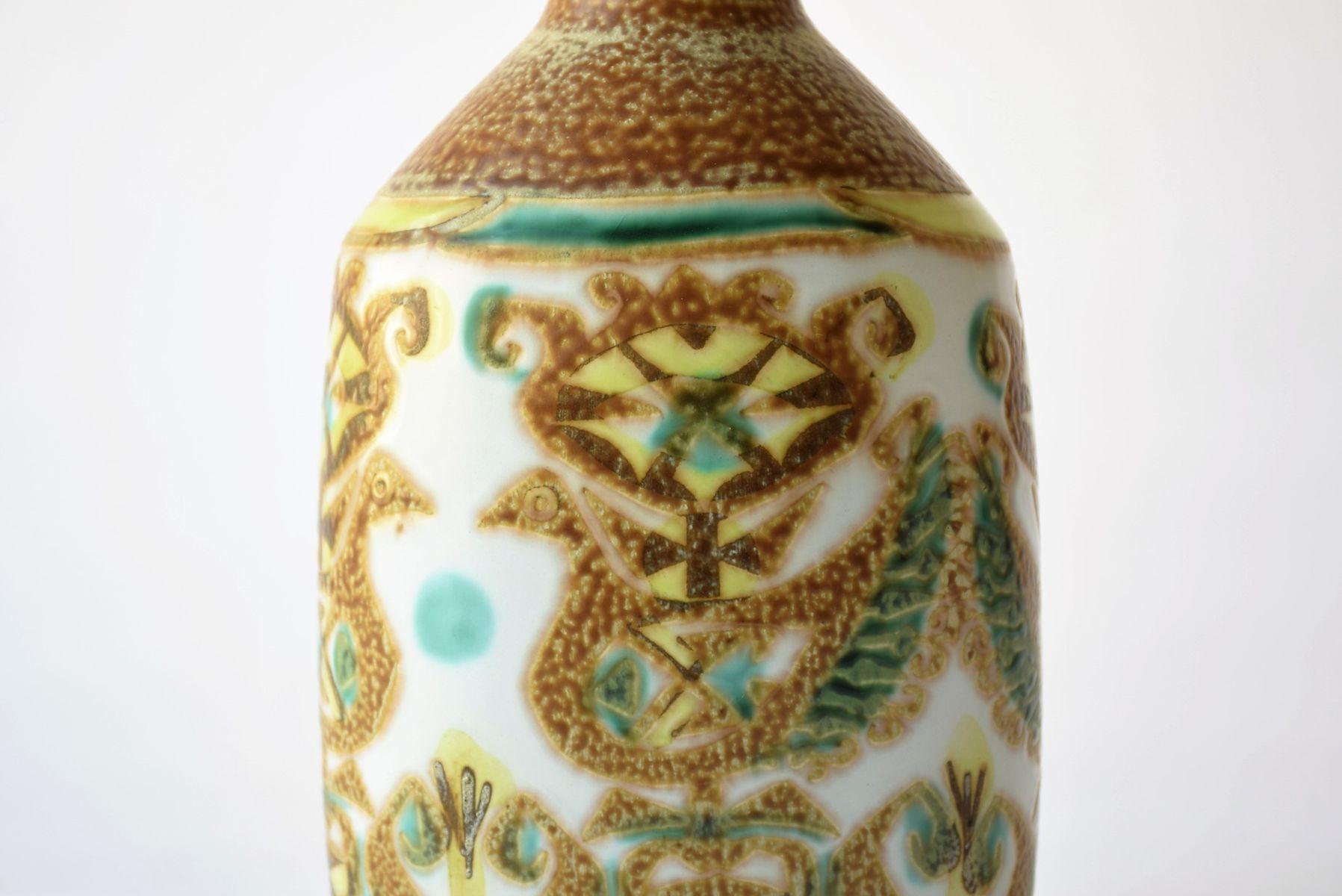 d nische vase mit vogel motiv von nils thorsson f r aluminia royal copenhagen bei pamono kaufen. Black Bedroom Furniture Sets. Home Design Ideas