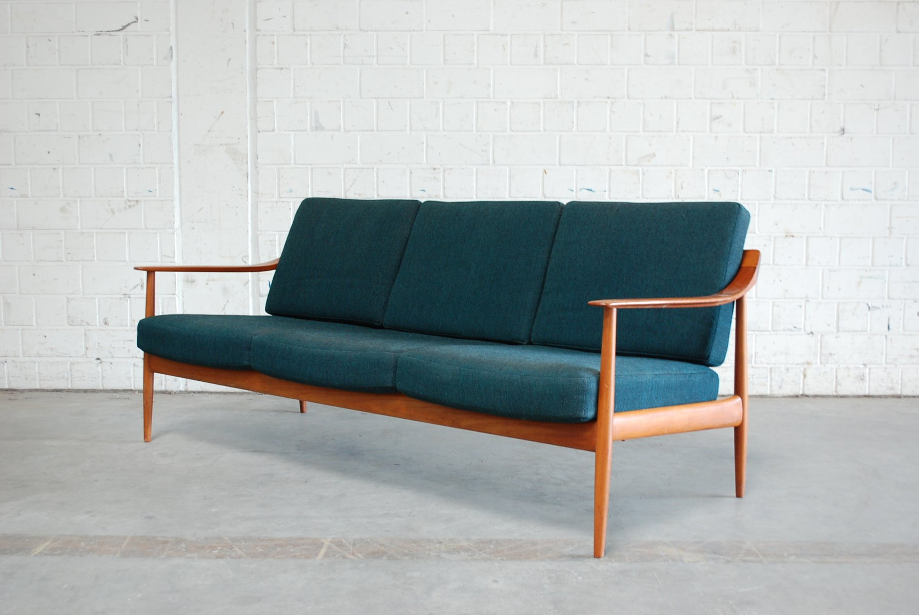 petrol teak sofa from knoll 1960s for sale at pamono. Black Bedroom Furniture Sets. Home Design Ideas