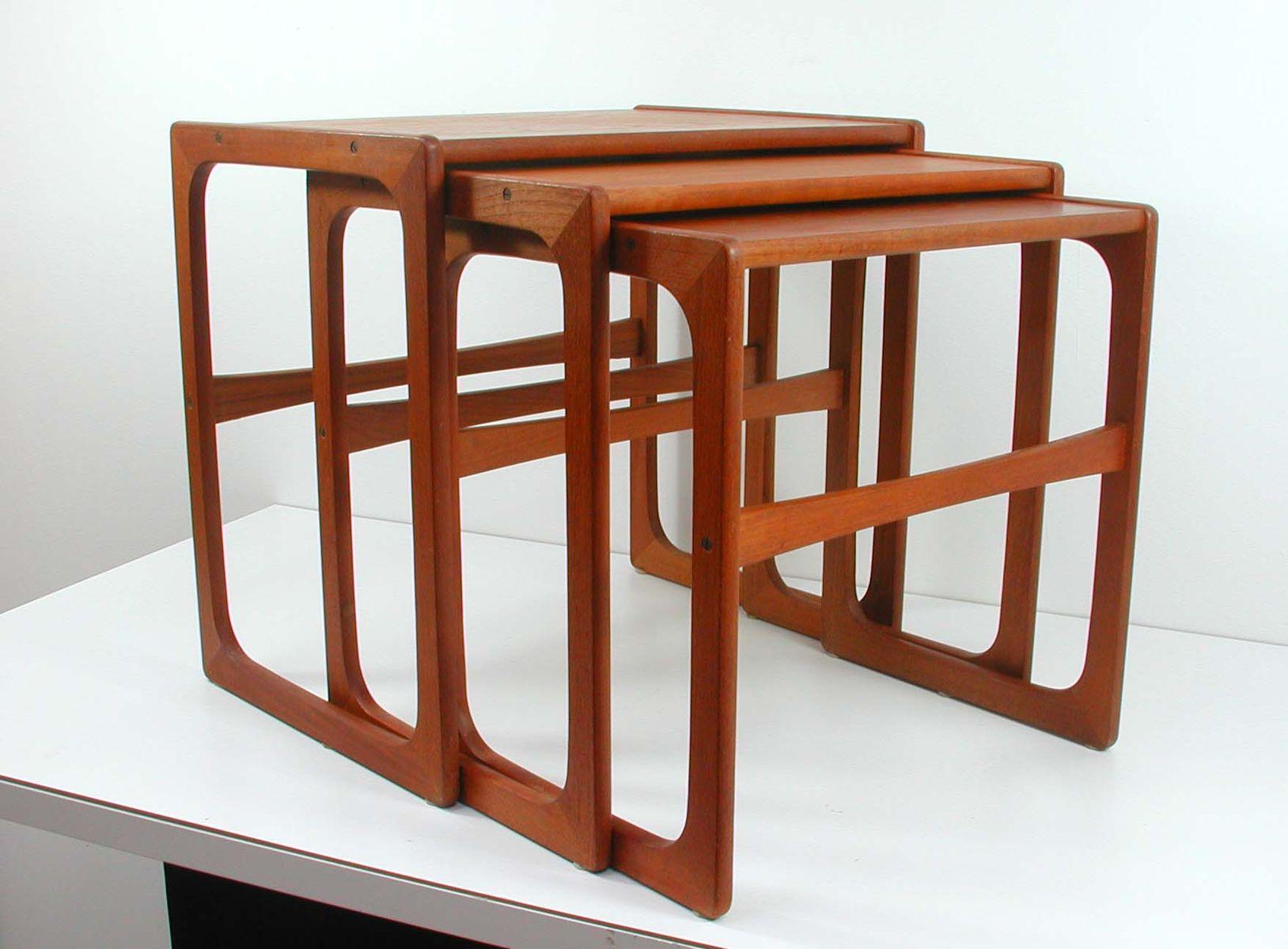 midcentury teak nesting tables 1960s