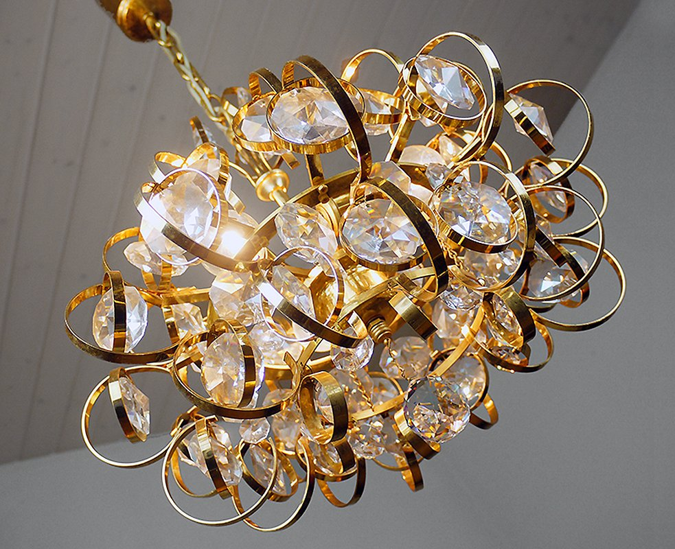 German Sputnik Gold-Plated Crystal Chandelier from Palwa, 1960s ...