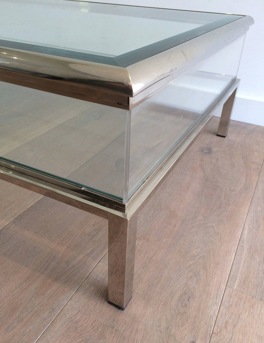 low sliding glass, plexiglas and chrome table, 1970s for sale at
