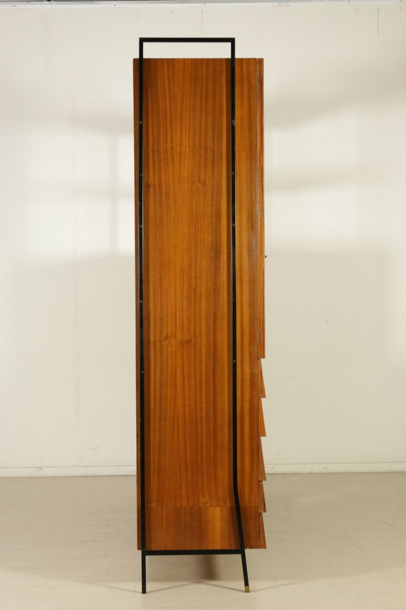 Mid Century Mahogany Veneer Cabinet With Decorated Doors For Sale At Pamono