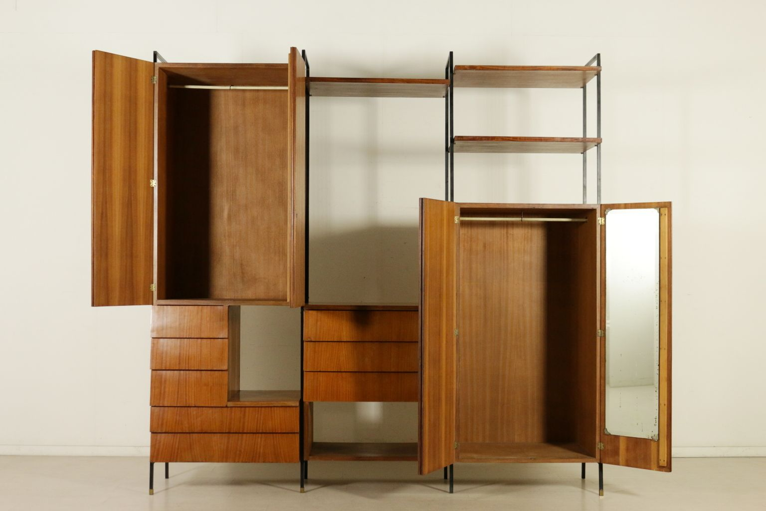 Mid Century Mahogany Veneer Cabinet With Decorated Doors