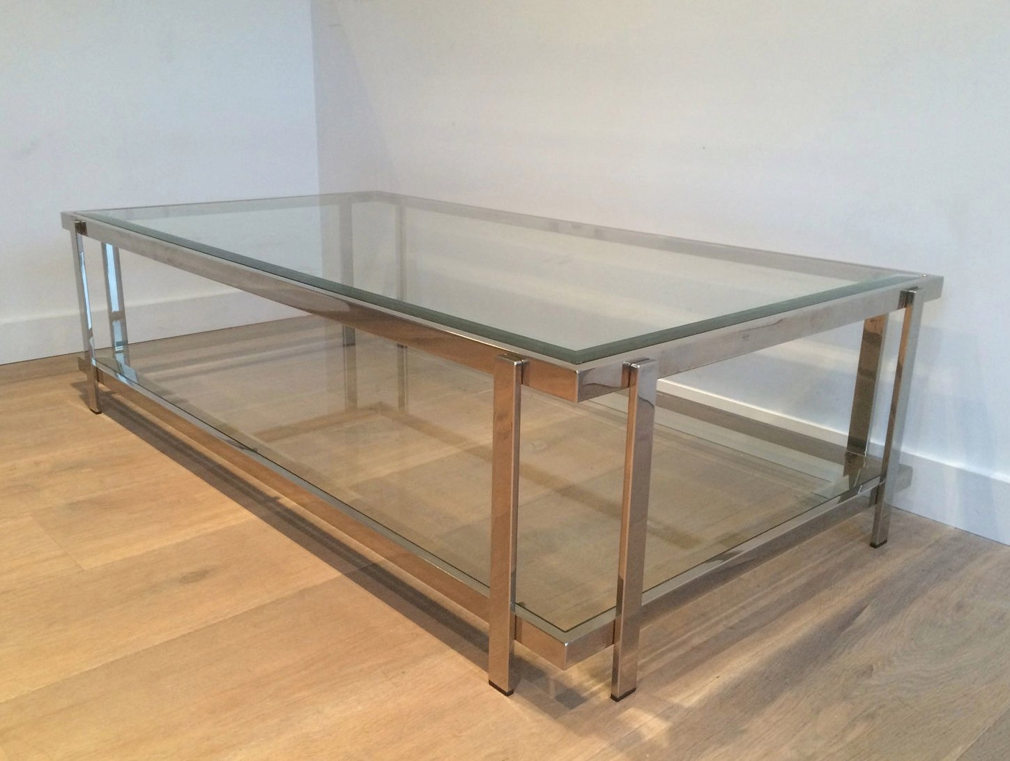 Vintage Chrome And Glass Coffee Table 1970s For Sale At