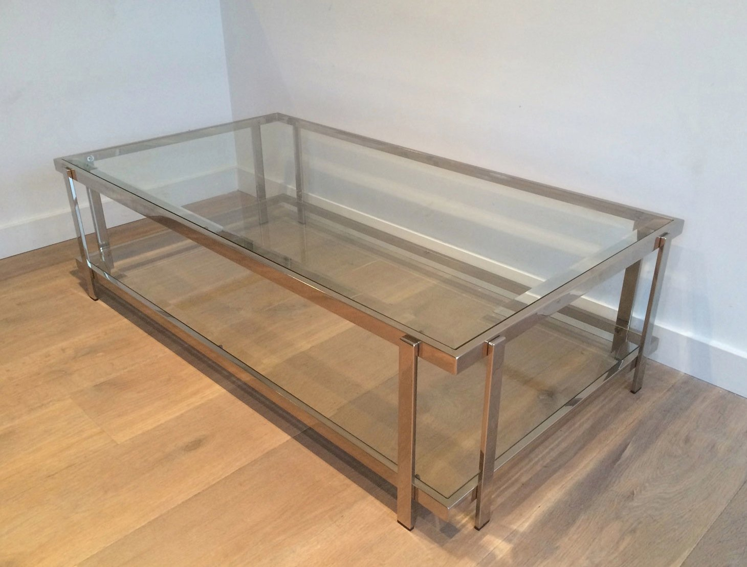 Vintage Chrome And Glass Coffee Table 1970s For Sale At Pamono