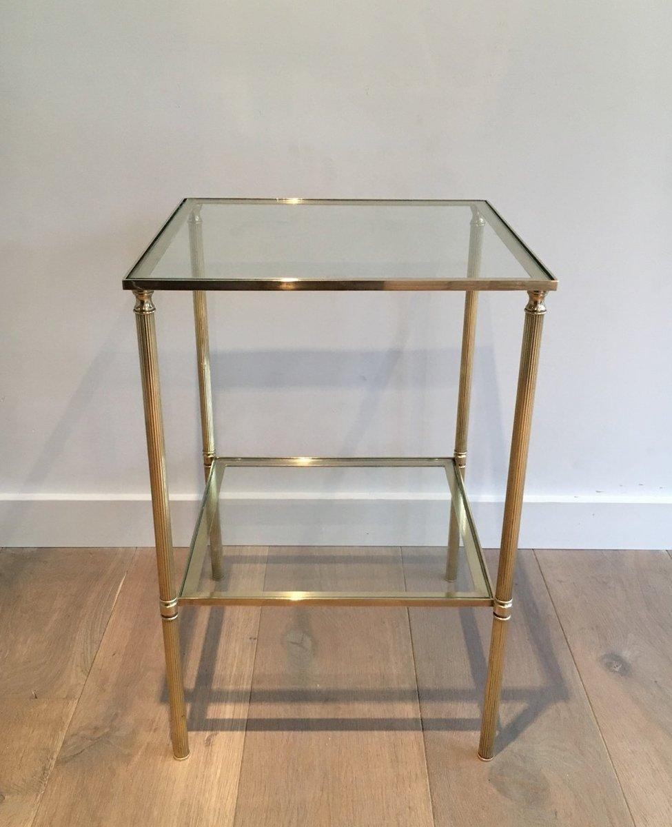 Brass And Glass Coffee Tables, 1960s, Set Of 2 For Sale At
