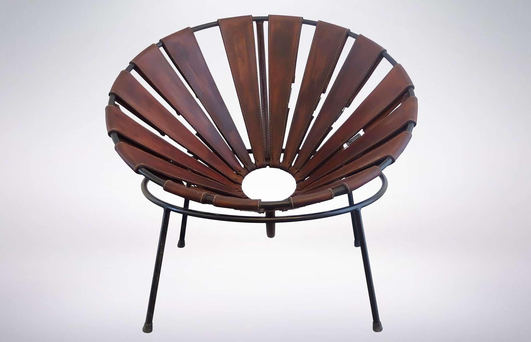 Bowl chair in leather by lina bo bardi 1950s for sale at for Lina bo bardi bowl