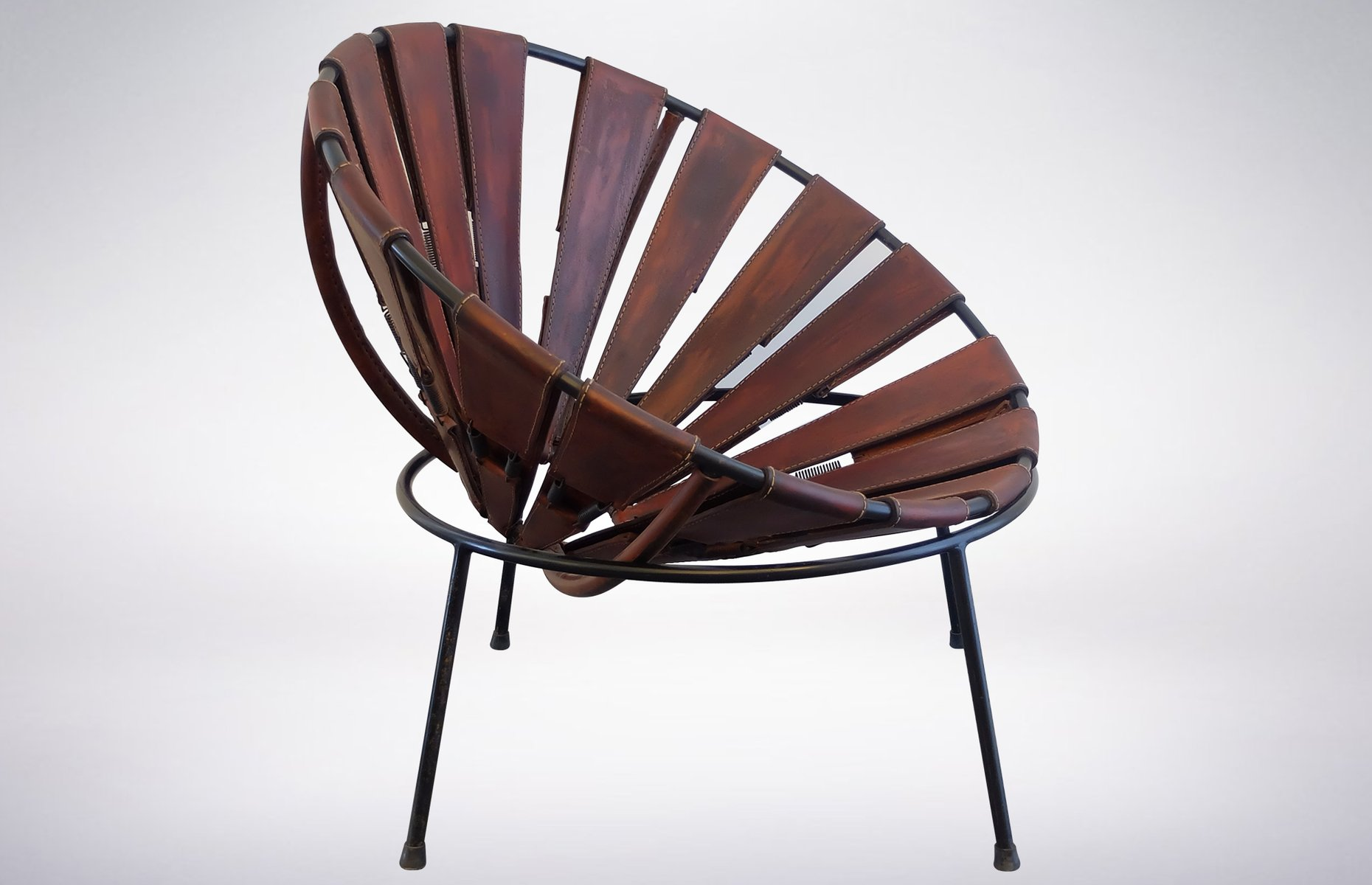 bowl chair in leather by lina bo bardi 1950s for sale at pamono. Black Bedroom Furniture Sets. Home Design Ideas
