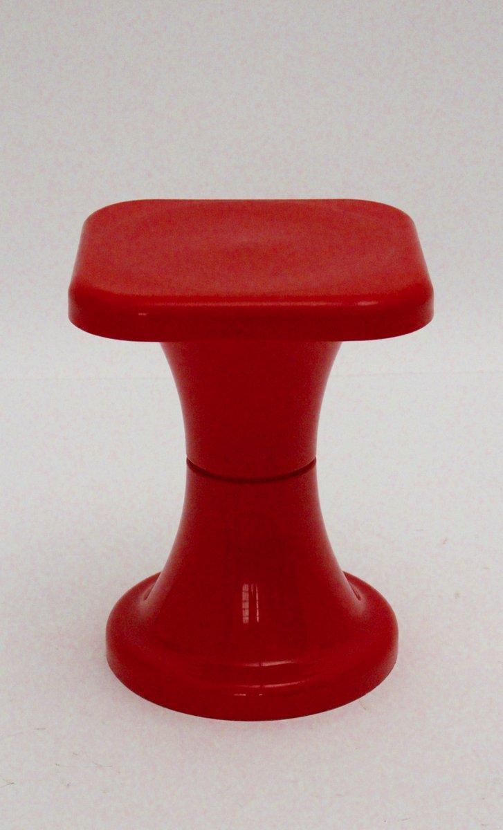 Tabouret rouge en plastique 1970s