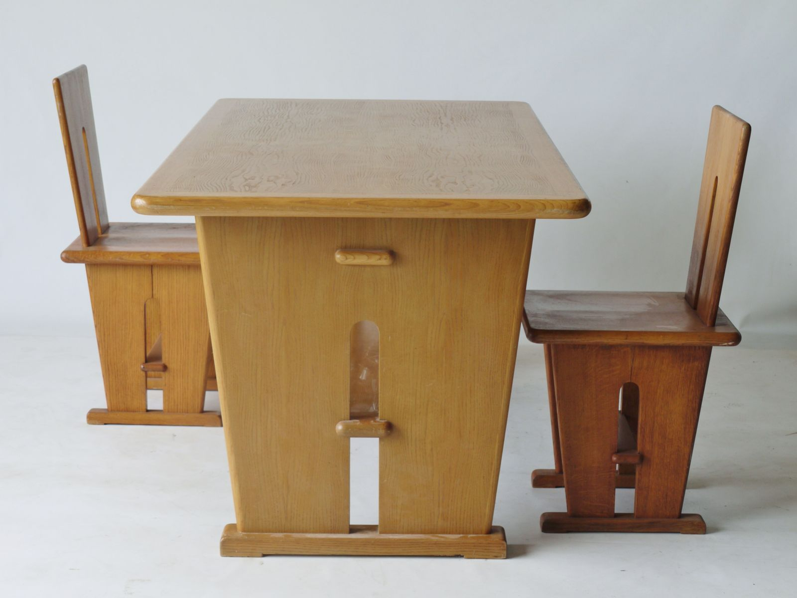 Double Sided Oak Desk and Two Chairs by Bas Van Pelt for