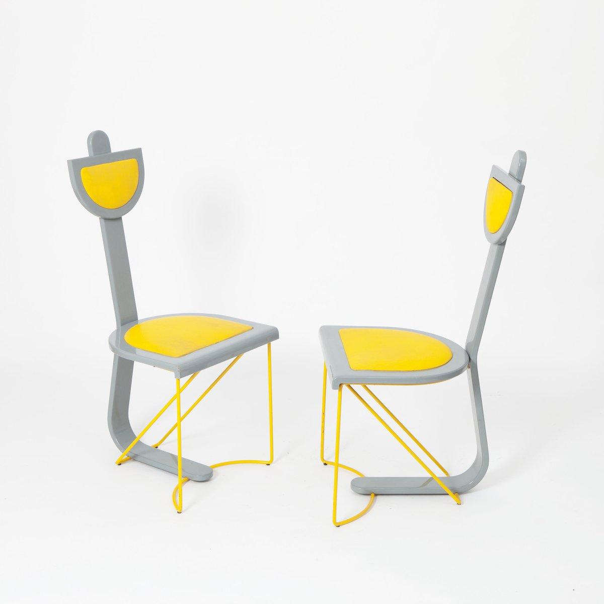 st hle in grau gelb 4er set bei pamono kaufen. Black Bedroom Furniture Sets. Home Design Ideas