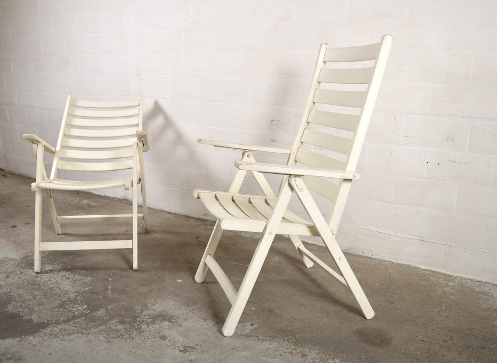 White Wooden Garden Chairs Set Of 2 For Sale At Pamono