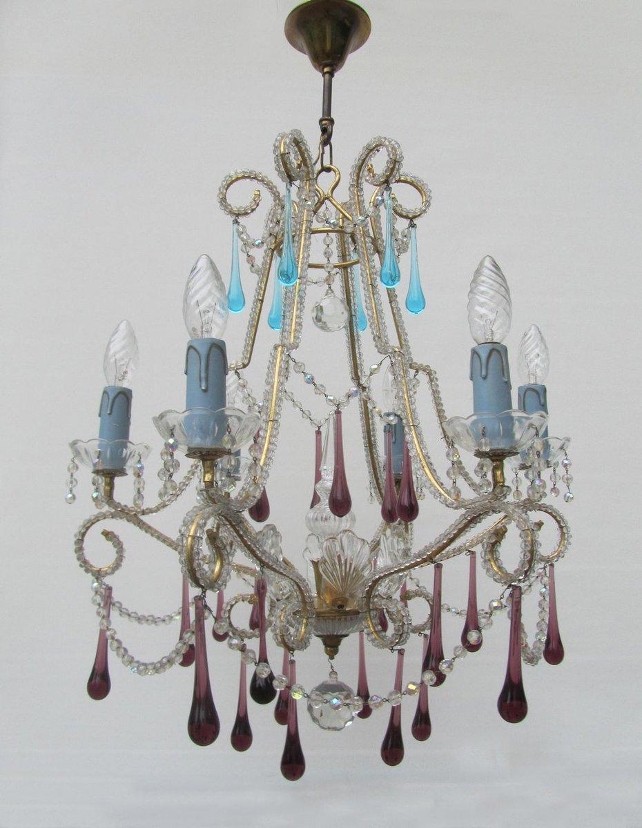 Vintage Italian Crystal Beaded 6light Chandelier with Purple – Italian Crystal Chandelier