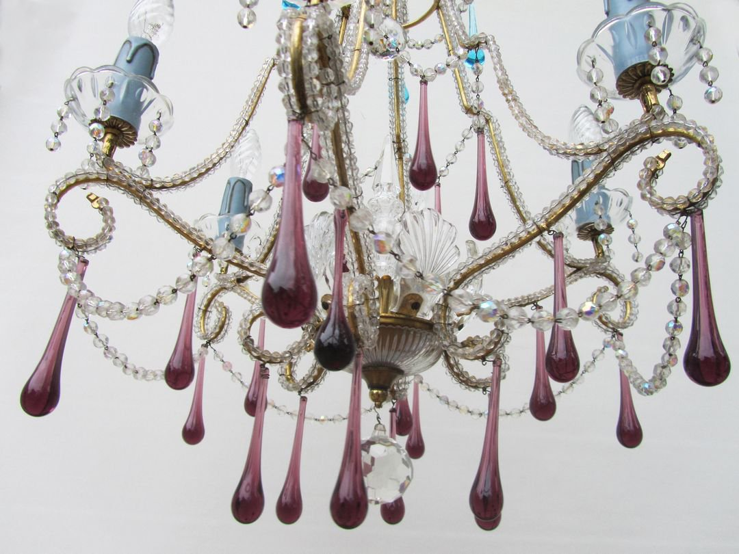 Vintage italian crystal beaded 6 light chandelier with purple vintage italian crystal beaded 6 light chandelier with purple azure drops mozeypictures Image collections