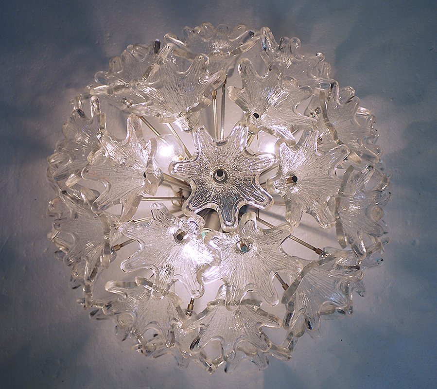 Vintage Murano Ceiling Lights : Mid century murano glass flower ceiling light by paolo