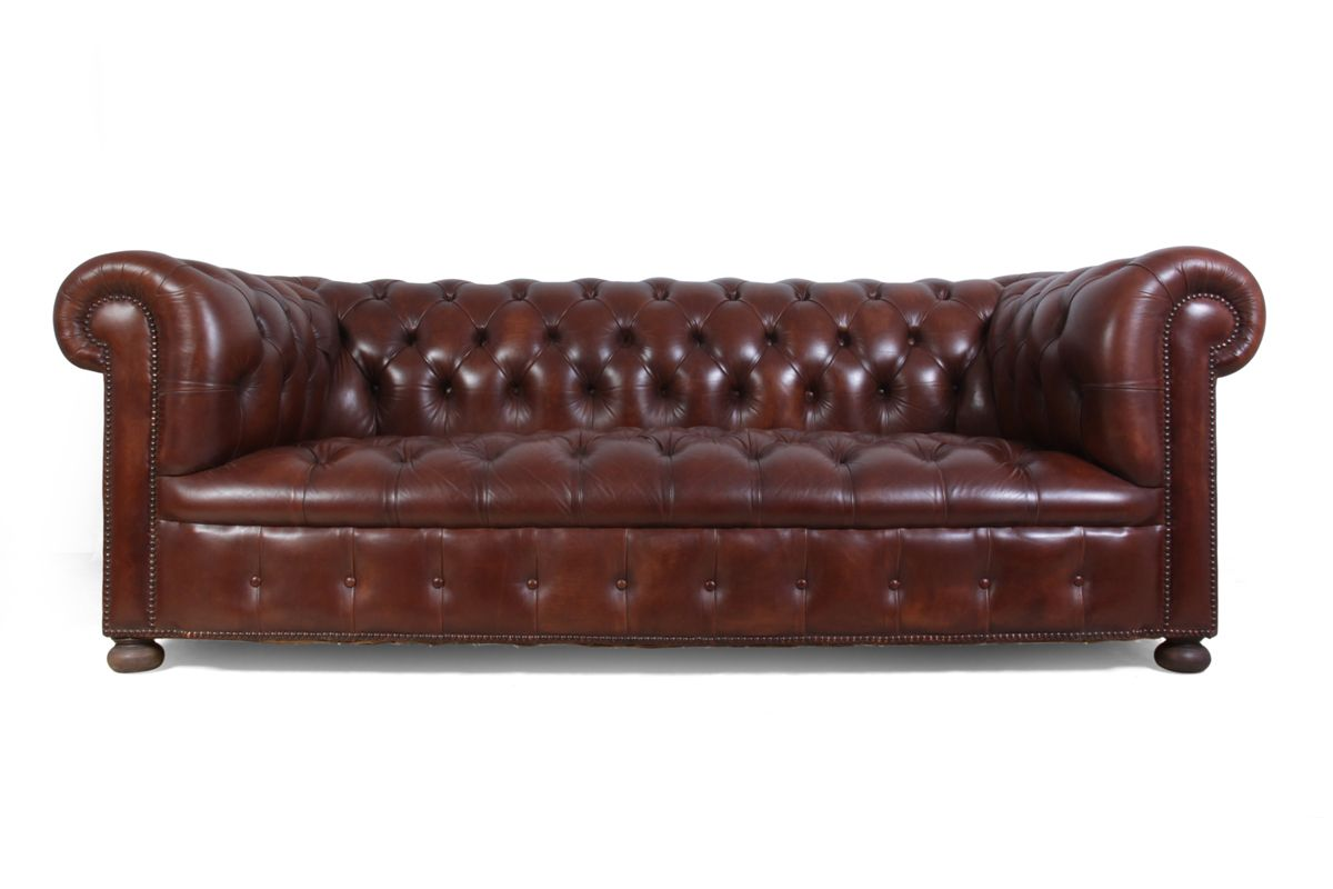 vintage chesterfield ledersofa in braun bei pamono kaufen. Black Bedroom Furniture Sets. Home Design Ideas