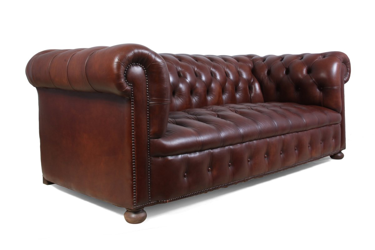 vintage chesterfield ledersofa in braun bei pamono kaufen. Black Bedroom Furniture Sets. Home Design Ideas