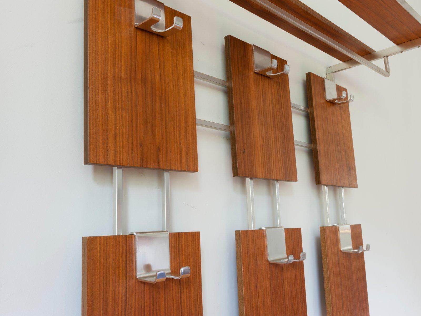 german teak wall hanging coat rack for sale at pamono. Black Bedroom Furniture Sets. Home Design Ideas
