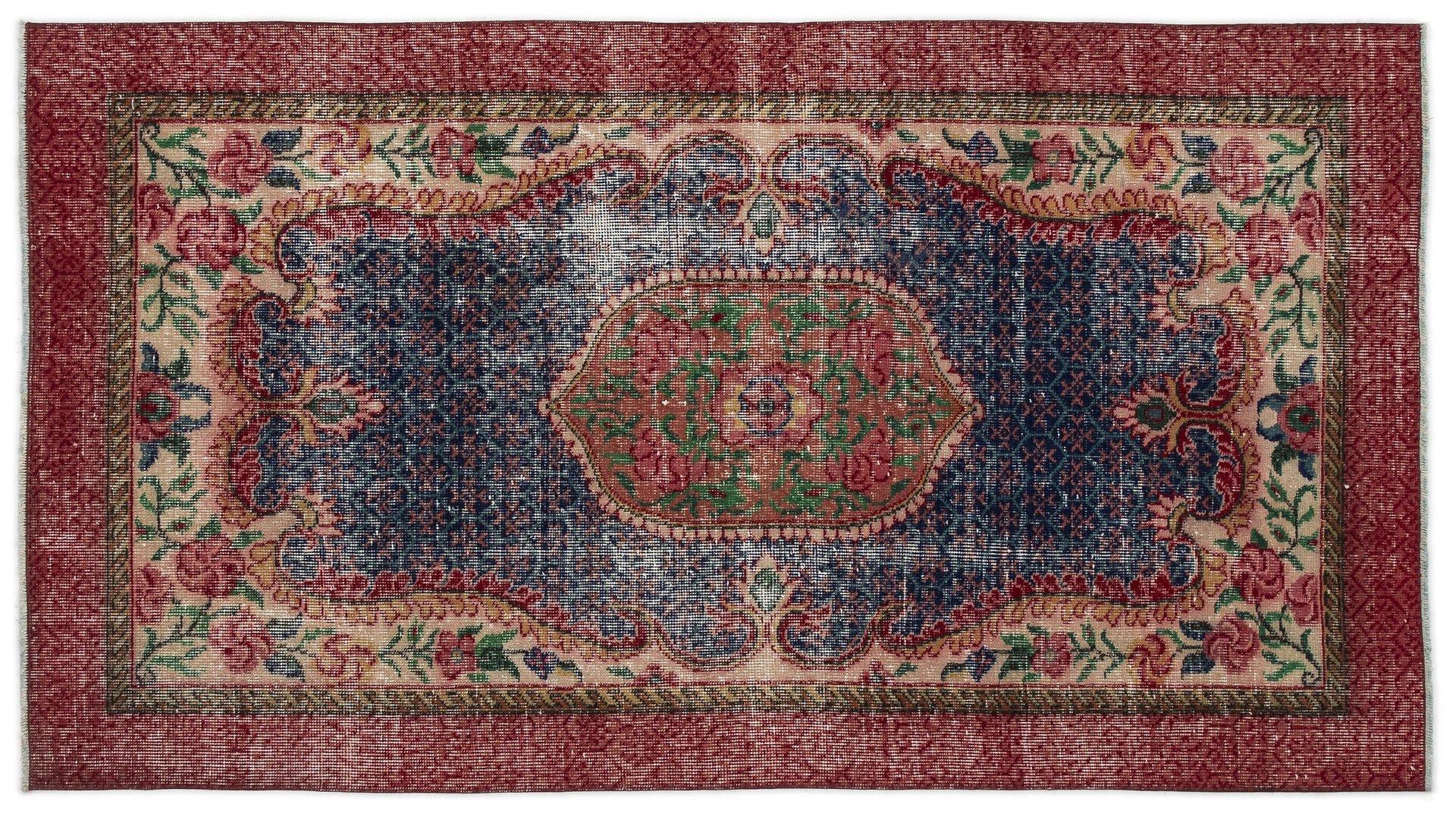 eingef rbter vintage teppich in rot blau bei pamono kaufen. Black Bedroom Furniture Sets. Home Design Ideas