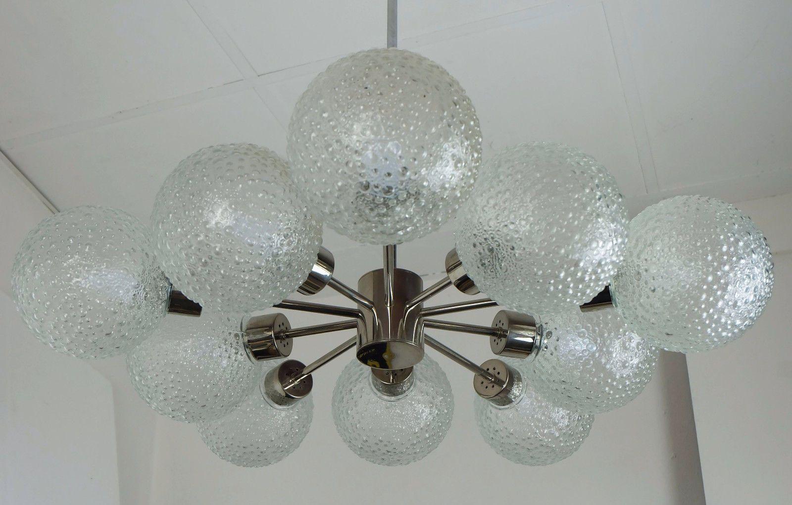 vintage tenglobe metal  bubble glass sputnik orbit chandelier. vintage tenglobe metal  bubble glass sputnik orbit chandelier