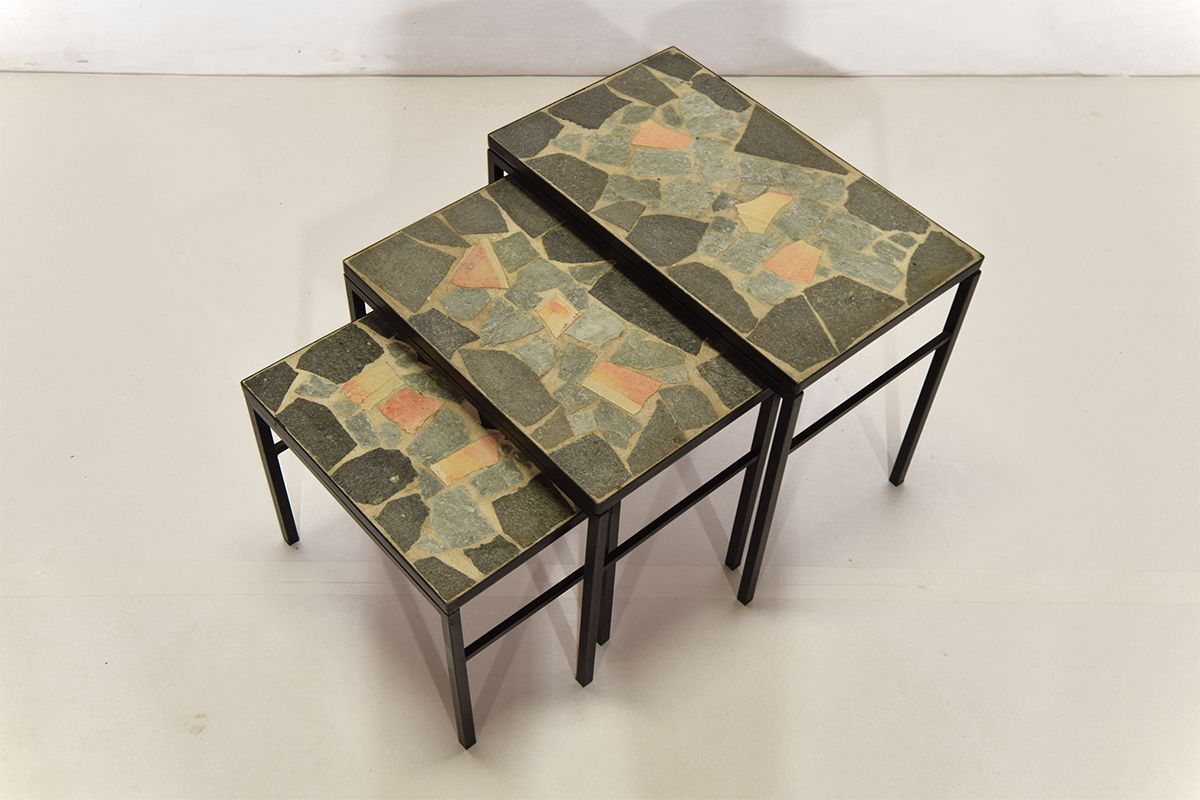 Slate Stone Nesting Tables Set of 3 for sale at Pamono