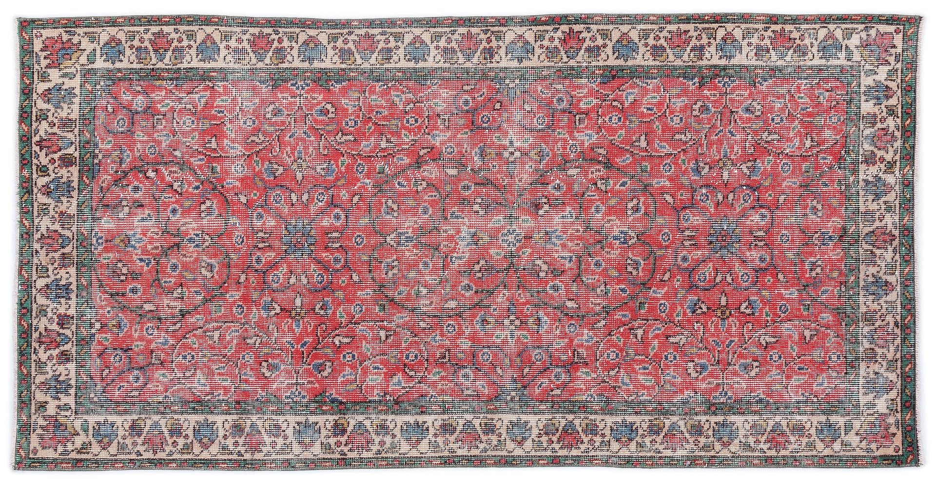 Vintage Red Turkish Overdyed Rug, 1960s