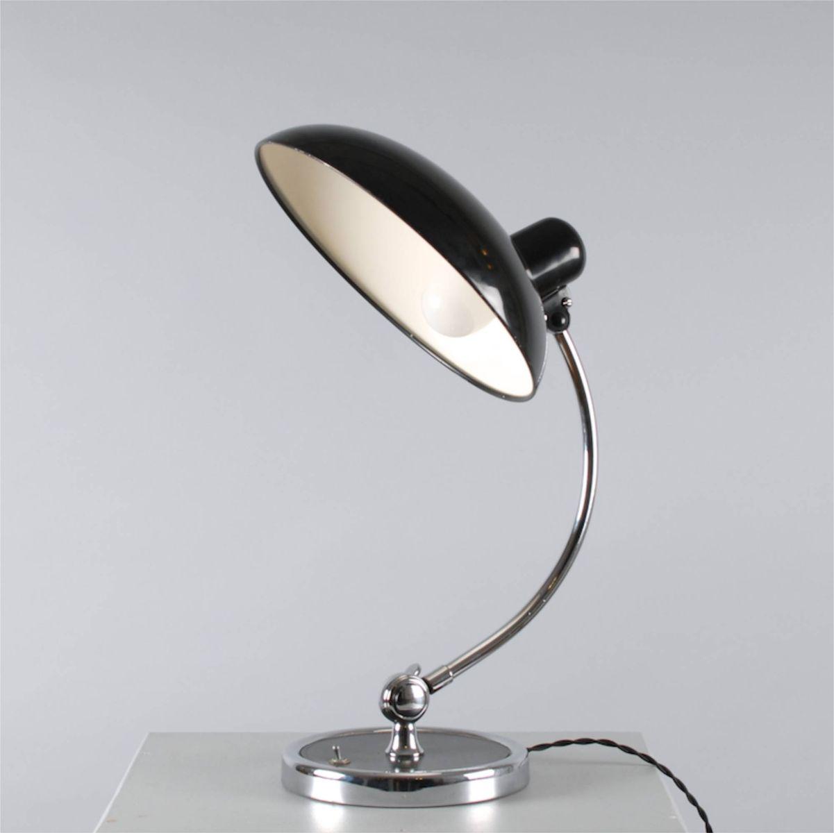 vintage chrome and black president desk lamp by christian dell for  - vintage chrome and black president desk lamp by christian dell for kaiseridell