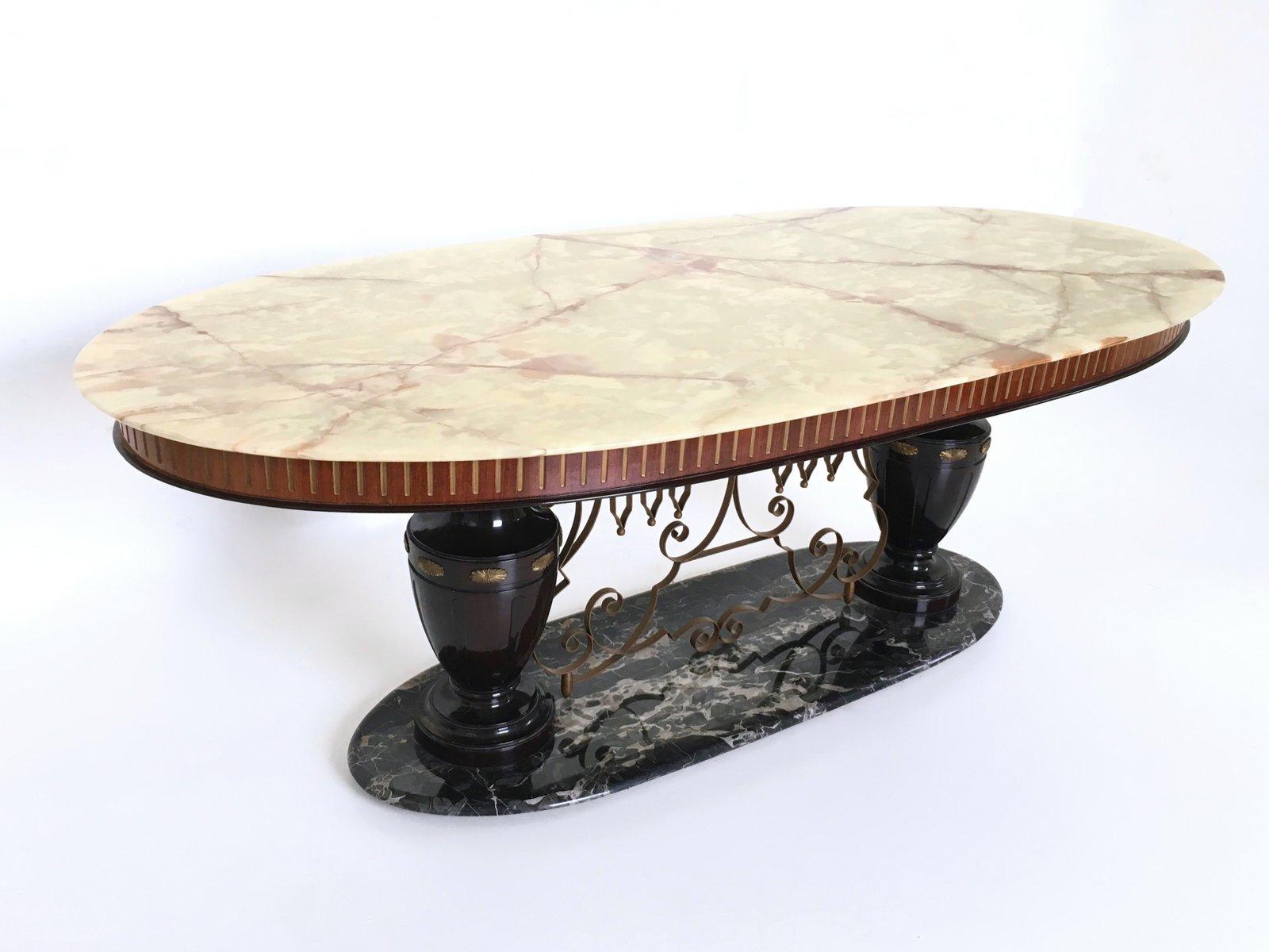tavolo portoro in marmo e onice anni 39 50 in vendita su pamono
