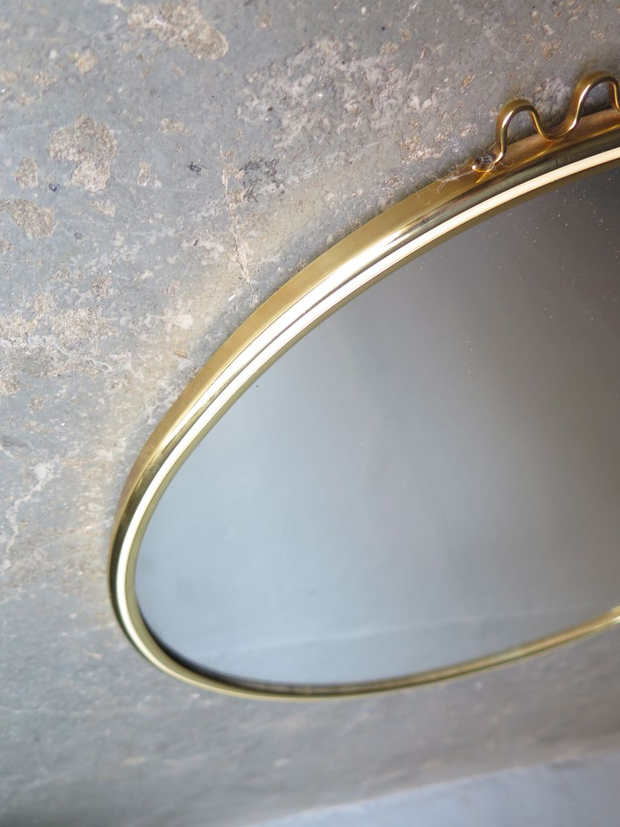 Round mirror with gold and white frame 1960s for sale at for White and gold mirror